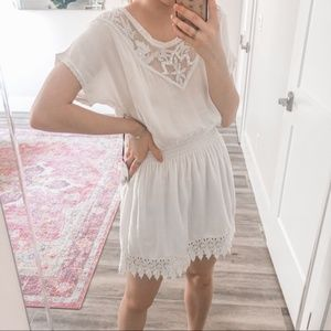 LOVERS AND FRIENDS Mecca White Lace Beaded Dress